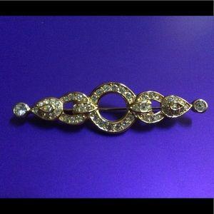 Vintage Dior rhinestone gold tone brooch